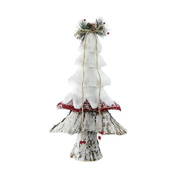 "18"" Retro Christmas White  Red and Brown Rustic Style Christmas Tree Decoration"