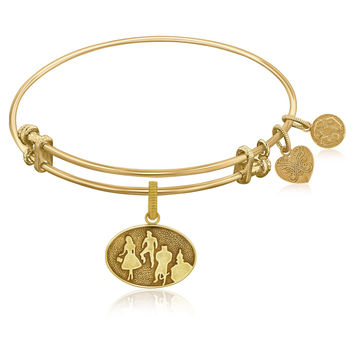 Expandable Bangle in Yellow Tone Brass with Wizard of Oz Group Silhouette Symbol
