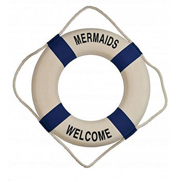 Mermaids Welcome Decorative Nautical Life Ring with Rope - 17-in