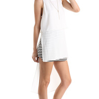 LONG SLEEVELESS DOUBLE LAYERED TANK TOP - WHITE