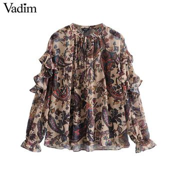 Vadim women ruffled chiffon oversized paisley print blouse long sleeve bow tie collar shirts vintage loose tops blusas LA754