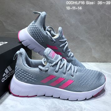 KUYOU A363 Adidas Tubular Shadow Flyknit Comfotable Running Shoes Grey Pink