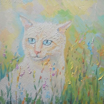 "Custom Oil Painting ""Cat"" Original Impasto Pet Blue-eyed Cat Portrait in GrassStill Life Nature Wall Decor Modern Art Photo to Painting Gift"