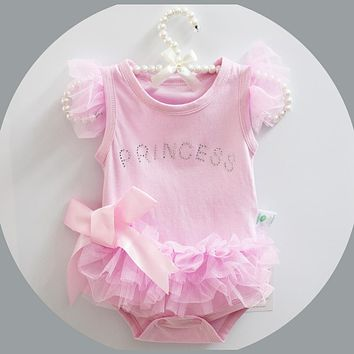 Summer Cotton Baby Rompers Boys Infant Toddler Jumpsuit Princess Pink Bow Lace Baby Girl Clothing Newborn Bebe Overall Clothes
