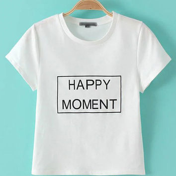 White Round Neck Letter Casual T-shirt