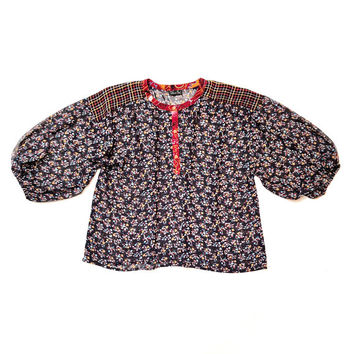 DIANE FREIS!!! Vintage 1980s 'Diane Freis' floral pattern clash blouse with three quarter sleeves
