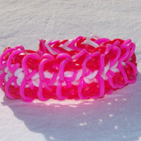 Valentines Rubber Band Bracelet Red, Pink, White Zippy Chain Style