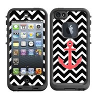 Skins Kit for Lifeproof iPhone 5 Case (skins/decals only) - Chevron Print Black and White with Red Anchor Sailor