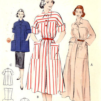 50s Robe pattern long or short mid century robe or smock pattern Vintage sewing pattern Butterick 5934 Bust 34 50s style pattern