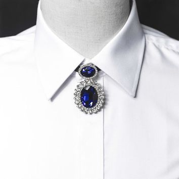 Free Shiping fashion Men's male shirt blouse gem necklace chain Poirot collar wedding groom host tie clothing accessories rope