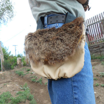 Leather Belt Bag with Rabbit Fur Flap, Handsewn, Handmade, Native American, Mountain Man, Rendezvous, Festival, Hip Bag