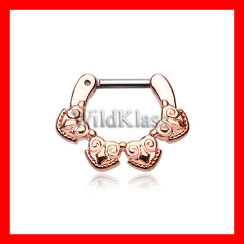 Rose Gold 16g Septum Clicker Rose Gold Tribal Tetra 14g Septum Ring Earring Cartilage Piercing Tragus Ring Helix Conch Nose Belly Nipple