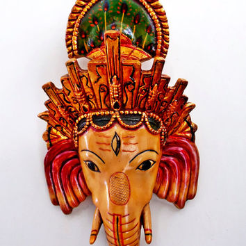 Large Easter Decor Golden Ganesha Wall Hanging Mask, Wall Decoration Art, Wall Sculpture Mount Home & Living / Decor  Housewares Wall Decor