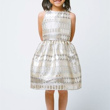 Metallic Print Girls Dress