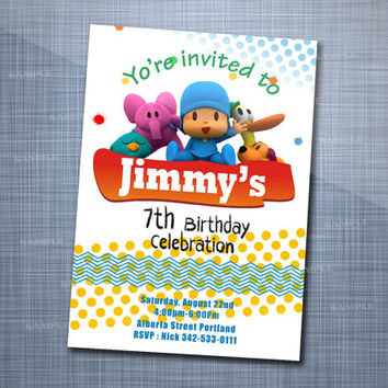 Pocoyo Birthday Colorful, Birthday Party, Invitation Card Design