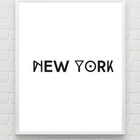 Printable Typography Art 'New York' Poster Print Digital City Poster Minimalist Black and White Wall Art Modern Wall Decor Home Decor
