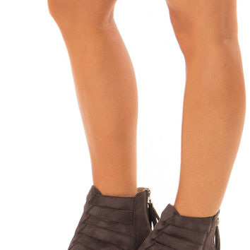 Mocha Suede Booties with Strappy Detail