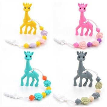 VONG2W BPA Free Silicone Giraffe Teething Pacifier Clip Baby Carrier Teething Accessory Giraffe Teether Toy Chew Teething Pacifier Clip