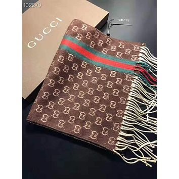 """GUCCI"" Winter Classic Fashion Couple Retro Cashmere Cape Tassel Scarf Scarves Shawl Accessories Coffee"