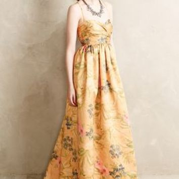 Savan Jacquard Gown by James Coviello Yellow