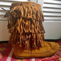 Vintage Fringe Moccasin Boot with Faux Suede Leather Womens Tall Fringe Moccasin Boot with zipper and rubber sole Boho Hippy Womens Size 7