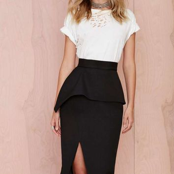 Nana Judy Slit Up Peplum Skirt
