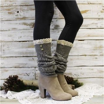 COZY lace leg warmer - silver