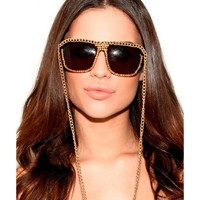 Missguided - Netty Chain Trim Sunglasses In Brown