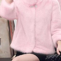 New Pink Patchwork Faux Fur Pockets Band Collar Fashion Outerwear