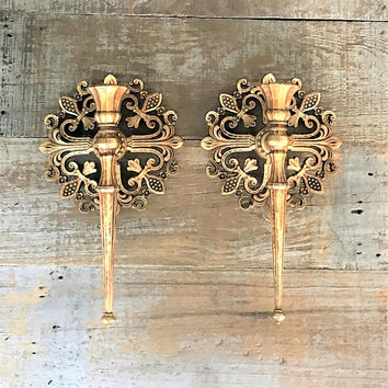 Sconce 2 Candle Sconces Hollywood Regency Candle Holder Plastic Sconces Ornate Gold Candle Holder Vintage Syroco Candle Holders Taper Candle