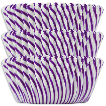 Purple Candy Stripe Baking Cups