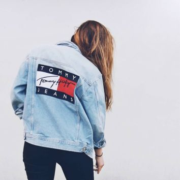 """Tommy Hilfiger"" Women  Denim Cardigan Jacket Coat"