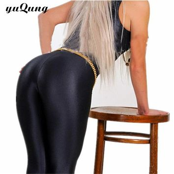 yuqung Black Womens Leggings Lycra spandex shiny legging workout Leggins Capris pants Fitness Nine Ankle length Pantalones
