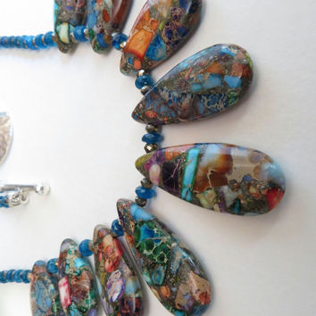 Color Upon Color, Variscite, Apatite, Pyrite and Sterling Silver Necklace Set, SRAJD