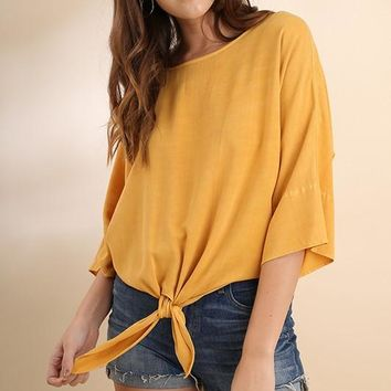 Mineral Washed Dolman Sleeve Front Tie Top - Mango