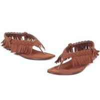 Amazon.com: Indian Costume Sandals Native American Costume Accessory Pocahantas Brown Fringe Size: 7: Clothing