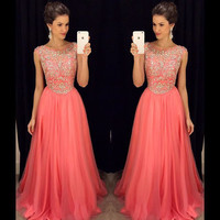 New Arrival O-neck Beaded Bodice Watermelon Chiffon Prom Dresses APD1642