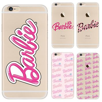 Sweet Relief Cases For Girls For iphone 7 7plus Barbie Coque Soft Clear TPU Cover fundas for iphone 5 5s 6 6s plus Phone Case