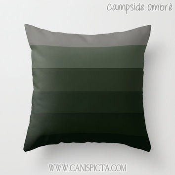 OMBRE Throw Pillow 16x16 Graphic Print Cover Couch Art Home Decor Geometric Forest Green Moss Evergreen Grey Ash Black For Him Men Guys Dude