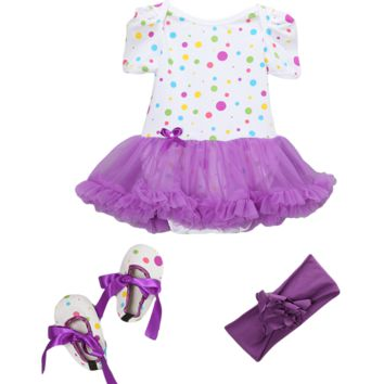 Purple Clown Dot Skirted Bodysuit Set Headband & Booties