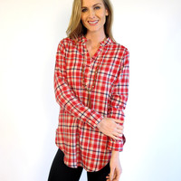 Minnie Plaid V-Neck Tunic: Red & Cream Mix