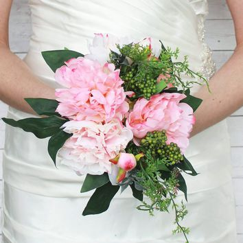 "Peony Silk Wedding Bouquet in Pink and Cream11"" Tall x 7.5"" Bouquet Head"
