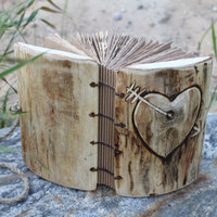 7 x 5 Coptic stitch wood journal with heart and arrow by crearting