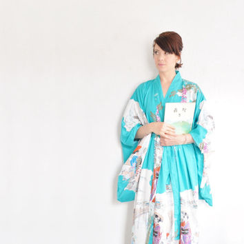 bright turquoise kimono . japanese scene . traditional geisha robe .small.medium.large.extra large.xl