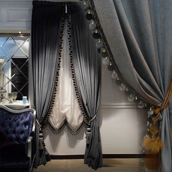Luxury Europe style Italian velvet  curtains with valance  blackout thick solid curtains for bedroom flying dancing  V-2206