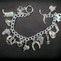 Western Country Horse Lovers Tibetan Silver Charm Bracelet