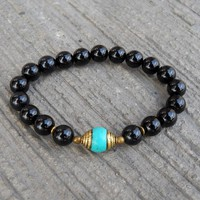 Communication and Patience, Genuine Onyx and Tibetan Capped Turquoise Guru Bead Mala Bracelet
