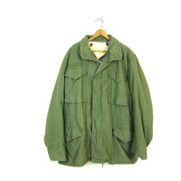 Army Coat Military Jacket 80s Commando Cargo Grunge Coat Oversized Olive Drab Green Jacket HEAVY 1980s Vintage Camo Anorak Mens Medium