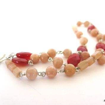 Peach Moonstone and Carnelian 3 Strand Bracelet, Gemstone Multi Strand Bracelet