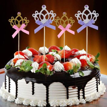 10pcs Crown Cake Toppers Birthday Decor Kids  Boy Girl Party Cakes Cupcake Decoration Ornament  Cupcake Toppers